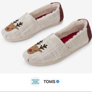 Toms White Textured Glitz Embroidered Reindeer Classic Alpargatas Flats
